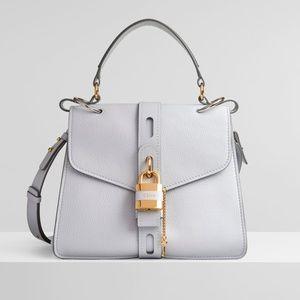 Chloe Aby Purple Grey Deerskin Padlock Day Bag